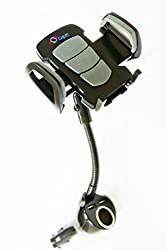 Cell Phone Car Holder Mount for Smartphone GPS by Gigue Offers Stylish Universal Cradle with 2 USB Chargers Power Outlet, Designed Not To Block Windshield. Keep Phone Visible and Stay Connected Legally On The Road Now!
