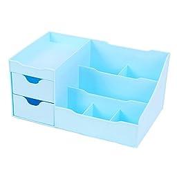 Generic Desktop Drawer Stationery Cosmetic Storage Box-Sky