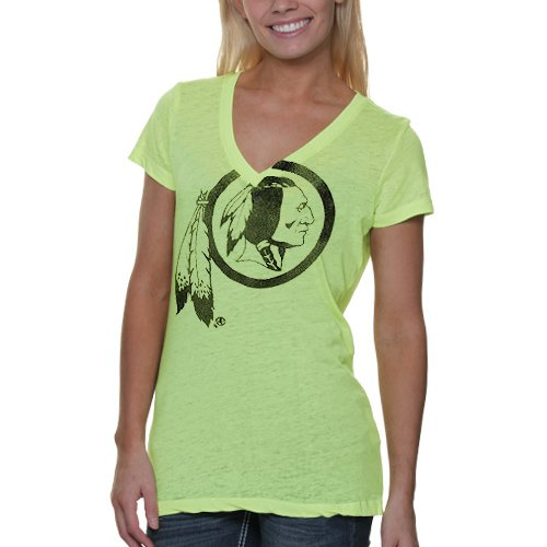 Washington Redskins Women&#039;s Look At Me! Neon Yellow Triple Play Burn Out V-Neck T-Shirt - Touch By Alyssa Milano at Amazon.com