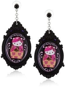 "Tarina Tarantino Hello Kitty ""Pink Head"" Portrait Baroque Russian Earrings"
