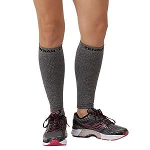 Zensah Compression Leg Sleeves, Heather Grey, Large/X-Large