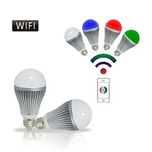 E27 WiFi Farbwecksel Dimmbar RGBW LED Lampe Birne - Lichtsteuerung über Wifi mit IOS und Adroid App