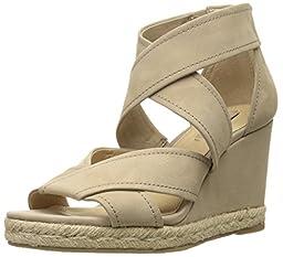 FRYE Women\'s Roberta Strap Espadrille Wedge Sandal, Cement, 8 M US