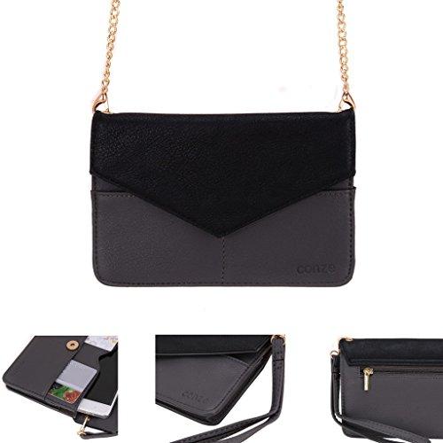 Conze da donna portafoglio tutto borsa con spallacci per Smart Phone per Blu Dash 5.0/4.5/4.0 Grigio grigio