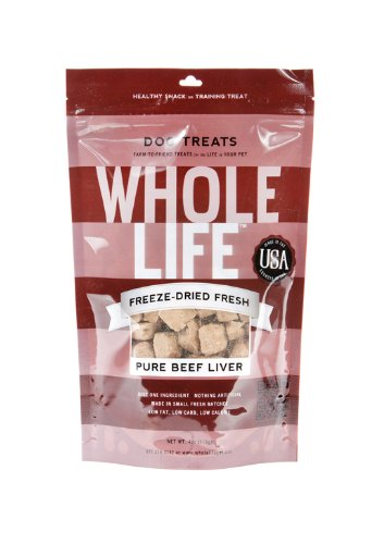 Whole Life Pet Products Pure Meat All Natural Freeze Dried Beef Liver Treats for Dogs, 4-Ounce