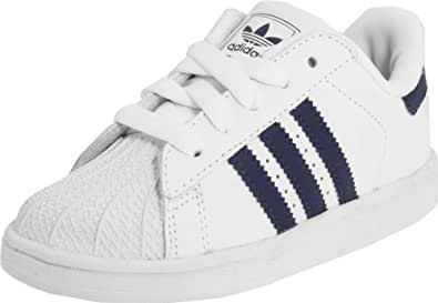 adidas Originals Superstar 2 Comfort Lace-Up Sneaker (Infant/Toddler),White/New Navy/White,5 M US Toddler