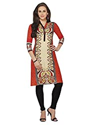 Comfortica Ethnicwear Women's Unstitched Kurti Fabric Multi-Coloured Free Size (SandhyaKala298)