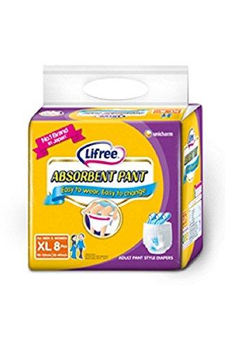 Lifree Absorbent Pant Adult Diapers for Men & Women XL 8 Pcs