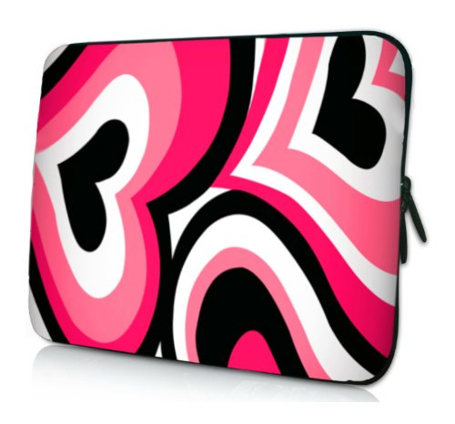 8 - 10 inch Fuchsia Pink Funky Retro Hearts Illustration Netbook Laptop Sleeve Slip Case Pouch Bag for Apple iPad 1 iPad 2 / most of Acer ASUS Dell HP Sony Toshiba