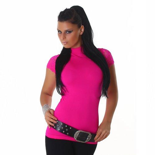 Damen kurzarm Shirt Top Rollkragen Spitze Größen 34-36 und 38-40 verschiedene Farben