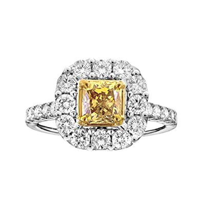 18k White Gold GIA Yellow Radiant Cut Diamond .97 VS1 HPHT Ring