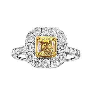 18k White Gold GIA Yellow Radiant Cut Diamond .97 VS1 HPHT Ring
