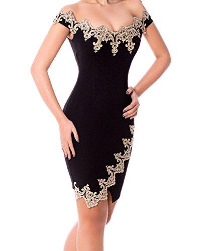 FQHOME Womens Gold Lace Applique Black Off Shoulder Mini Dress Size S