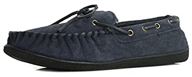 New Mens/Gents Navy Leather Suede Moccasin Slippers - Navy - UK SIZE 6