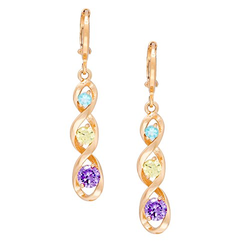 Romantic Time Multi-color Gemstone Studded DNA Strand 18k Rose Gold Plated Spiral Dangle French-back Earrings
