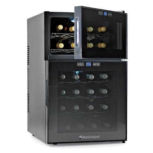 Wine Enthusiast Silent 24 Bottle Touchscreen Wine Refrigerator (2-Temp