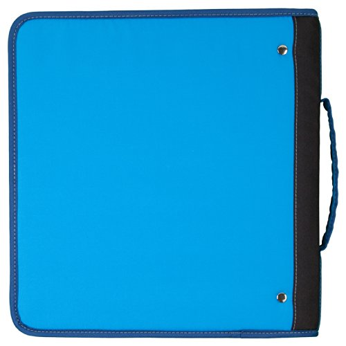 Mead zipper binder with handle with interior and exterior pockets 2 inch blue 72763 for Trapper keeper 2 sewn binder with exterior storage