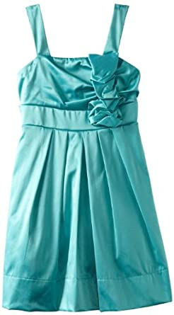 Ruby Rox Girls 7-16 Ruffle Rosette Dress, Sea Foam, 7