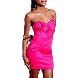 Hot Pink Strapless Layered Front Cocktail Dress