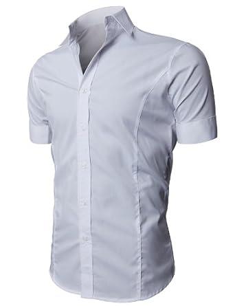 H2H Mens Wrinkle Free Slim Fit Dress Shirts by H2H