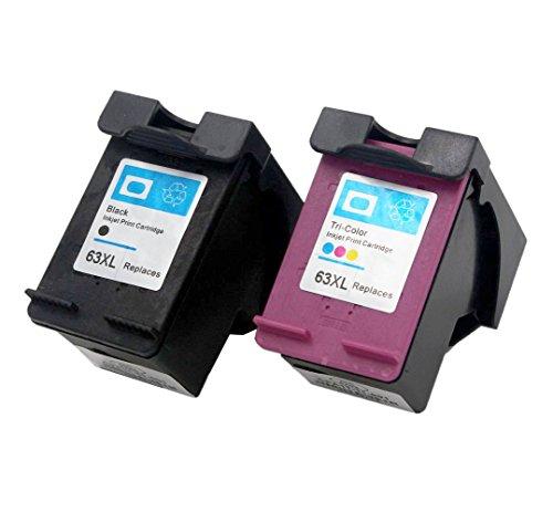 ESTON 2 Pack #63 XL Black/Color Ink for HP63XL HP Deskjet 1110 1112 2130 2131 2132 Printers