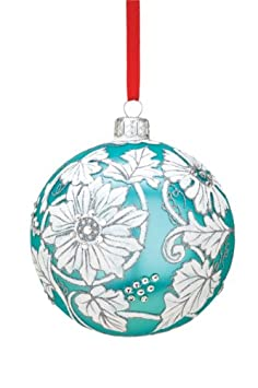 #!Cheap Reed & Barton European Glass Blown Tapestry Floral Ball Ornament, Diameter 4.0