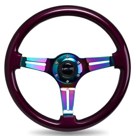 NRG Innovations ST-015MC-PP Classic Wood Grain Wheel (350mm 3 Neochrome spokes, purple pearl paint) (Nrg Steering Wheels Purple compare prices)