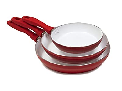 Victoria Victoria CHKCER-53761 Nonstick Ceramic Set 8-inch 10-inch 12-inch Saute Pans Set, PFOA-Free, 3-Piece, Red, White, 3 pack, Red