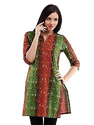Miraaya Women's Cotton Kurti (M2537A_88974_Orange Green_XX-Large)