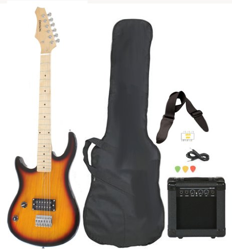 Left Handed Beginner Electric Guitar Package with Amp Case Picks Strap Starter Value Pack in Vintage Sunburst