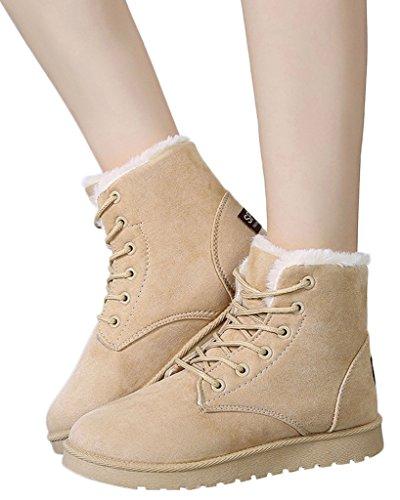 Minetom Donna Autunno Inverno Lace Up Pelliccia Classico Neve Stivali Snow Boots Stivali Cavaliere Scarpe Piatte Beige EU 35