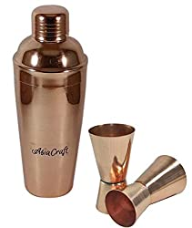 AsiaCraft Beautiful, Unique, Modern Pure Copper 24 oz Cocktail Shaker with Cap and Strainer With Jigger