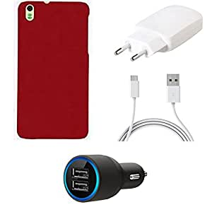 NIROSHA Cover Case Charger car for HTC Desire 816 - Combo