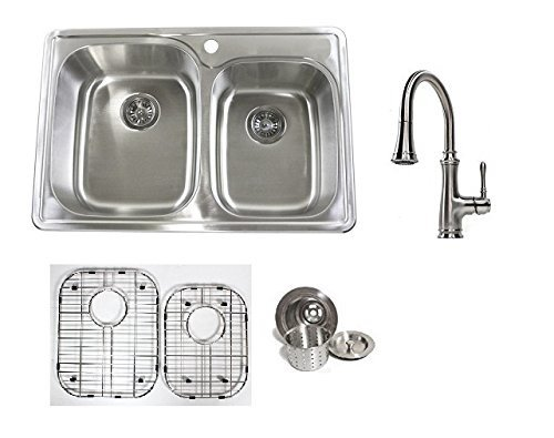 33 Inch Stainless Steel Top Mount 60/40 Double Bowl Kitchen Sink and Allora Chess Design Kitchen Faucet Combo