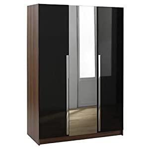 wardrobe with mirror chrome handles mdf glossy black walnut