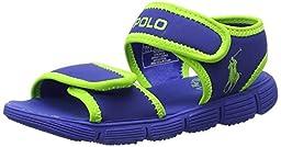Polo Ralph Lauren Kids Tide Sport Sandal (Toddler),Royal/Green,7 M US Toddler