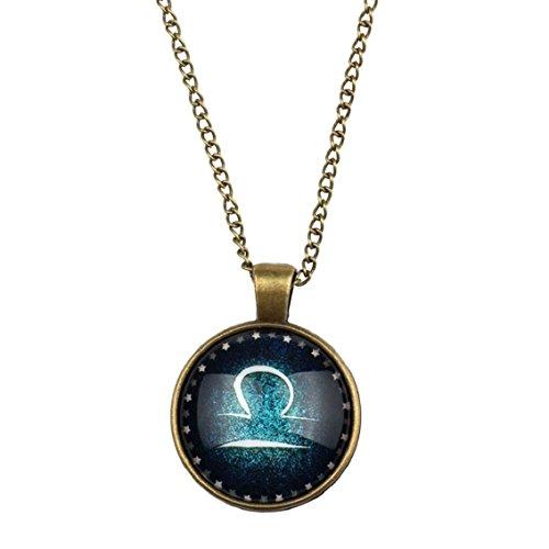 Bocideal Zodiac Anhänger Opulente Halskette Glascabochon-Antike-Bronze (Waage)