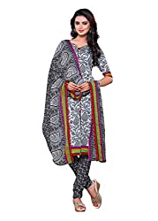 Salwar Style Design Women's Cotton Unstitched Salwar Suit Dress Material (SS1014_Free Size_Sky & Black)
