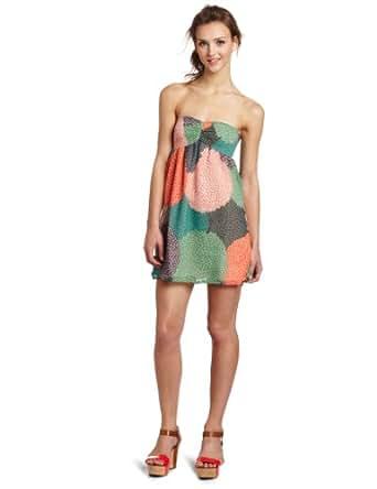 Roxy Juniors Flowy Nights Tube Dress, Blue/Green, X-Small