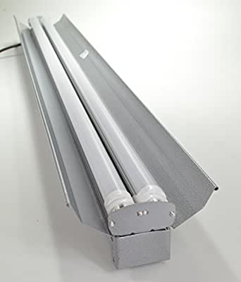 Grey 4 Ft 48 Watt Heavy Duty Hanging Shop Light 2 Light Ceiling Light Fixture With Pull Chain