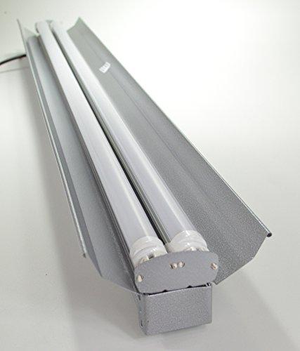 Grey 4-Foot 2-Light Shoplight With 2X Led T8 24 Watt Tubes