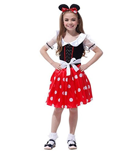 かわいい ミニーマウス 風 コスプレ衣装 ハロウィン [ パンプキン バッグ 付き] 110cm-140cm (130-140cm)