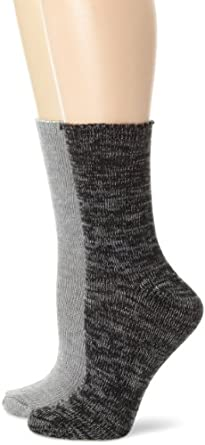 Nine West Women's Marled and Solid Flat Knit 2 Pair Boot Pack Socks, Charcoal Heather, One Size
