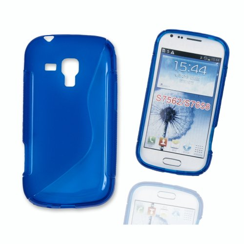 Silikon Case Hülle Etui Handytasche Handykondom Back Cover in blau für Samsung Galaxy Trend GT-S7560 / Duos GT-S7562 / Plus GT-S7580 inkl. World-of-Technik Touchpen