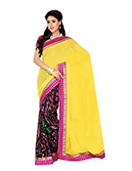 De Marca Black And Yellow Art Silk Designer G-333 Saree