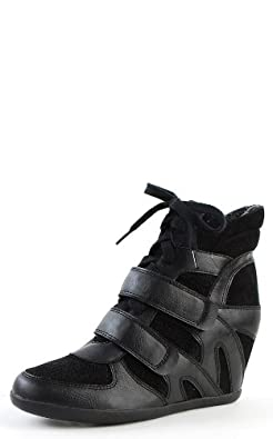 Wild Diva Bubble-01 Double Strap Wedge Sneakers BLACK