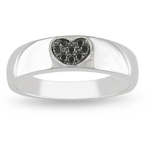 Sterling Silver 0.06 CT TDW Black Diamond Black Rhodium Plated Fashion Ring