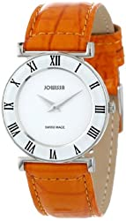 Jowissa Women's J2.109.M Roma Colori Round Stainless Steel Orange Leather Roman Numeral Watch