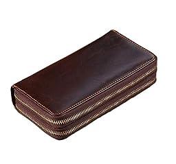G-JMD Men\' Classical Genuine Leather Business Wallet Wrist Zippered Clutch Handbag Checkbook Purse Credit ID Card Holder