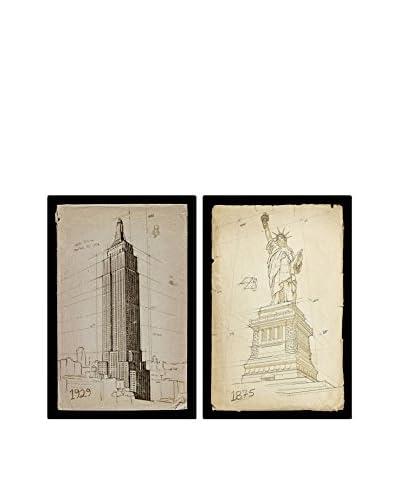 Oliver Gal Hatcher & Ethan 'American Landmarks Set Of 2' Canvas Art, Multi, 24 x 16